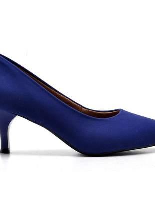 Sapato scarpin feminino nobuck  azul salto fino baixo 5 cm