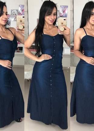 Vestido longo jeans alcinha botões feminino
