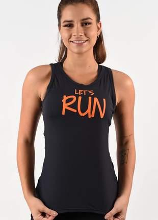 Camiseta evolution feminina básica lets run preta