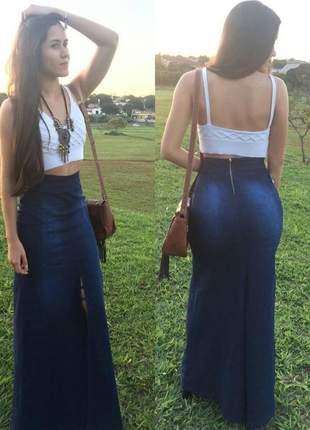 Saia jeans longa feminina fenda casual cintura alta