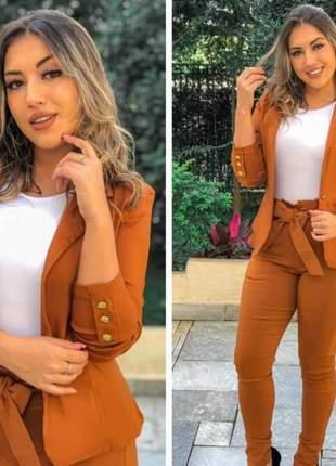 Conjunto social feminino calça laço e blazer