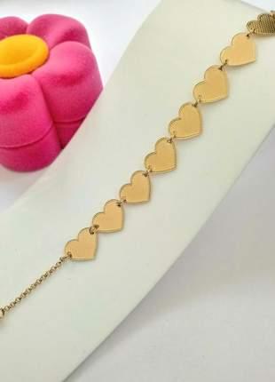Pulseira corações banhada a ouro