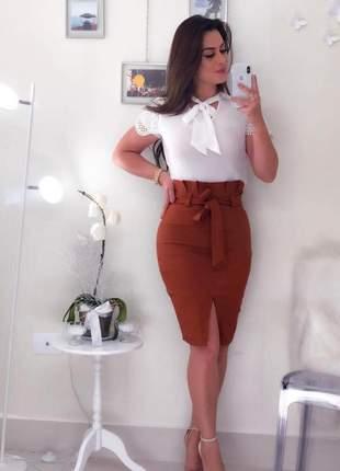 Saia midi cintura alta laço feminina fenda