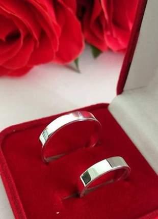 Par de aliança 4,5mm lisa prata namoro compromisso