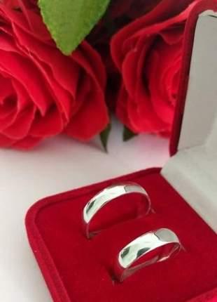 Par de aliança 5mm em prata namoro casal compromisso