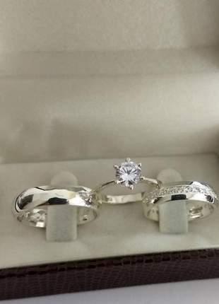 Conjunto par de aliança 5mm feminina cravejada e anel solitário prata
