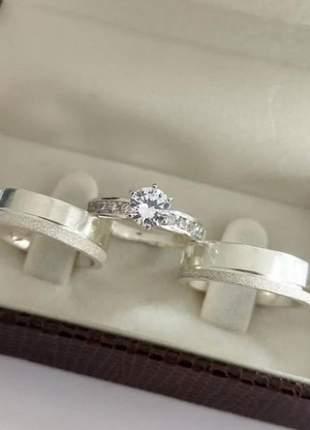 Conjunto par de aliança 6mm + anel solitário em prata namoro casal