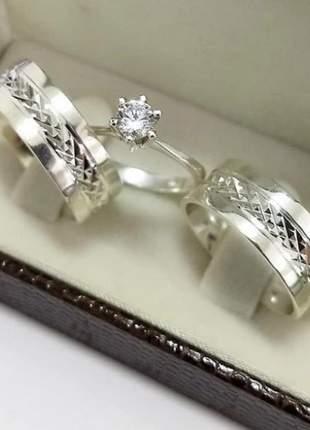 Conjunto par de aliança 8mm diamantada +anel solitário prata namoro