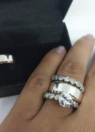 Conjunto par de aliança 8mm quina quebrada anel solitário duplo prata