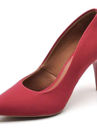 Sapato scarpins feminino nobuck vermelho salto fino medio 7 cm