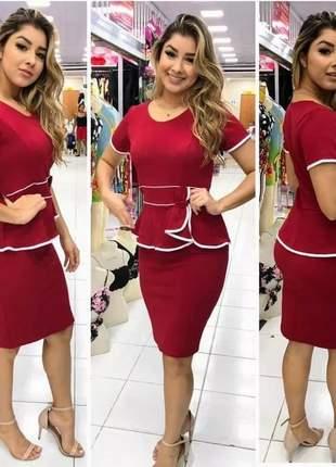 Vestido midi justo laço moda evangelica casual promoção