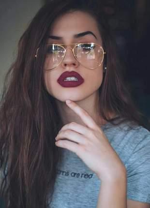 Óculos aviador feminino armação dourada lente clara sem grau
