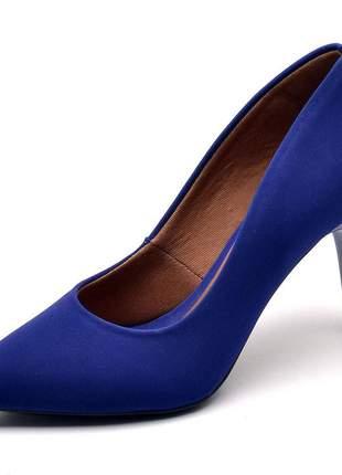 Sapato scarpins feminino em nobuck azul salto fino 7 cm