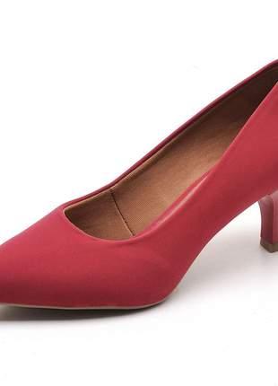 Sapato scarpin feminino em nobuck vermelho salto fino baixo 5 cm
