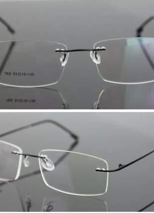 Armação óculos de grau sem aro feita de titanium / unissex