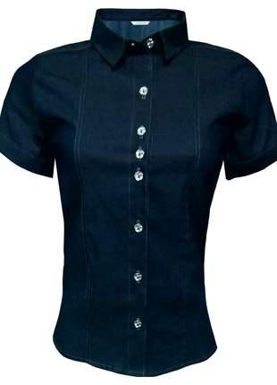Blusa jeans feminina mnaga curta