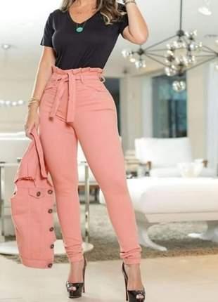 Calça social feminina cintura alta com cinto laço