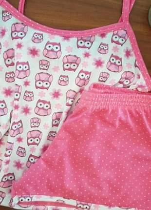 Pijama coruja rosa