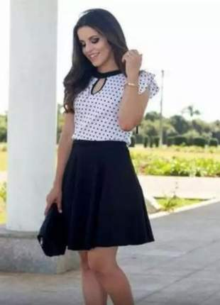 Blusa feminina poá uma gota manga babadinho bolinha moda evangélica