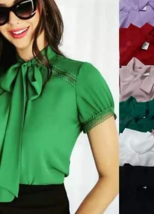 Blusa viscose camisa feminina estilo gravatinha social