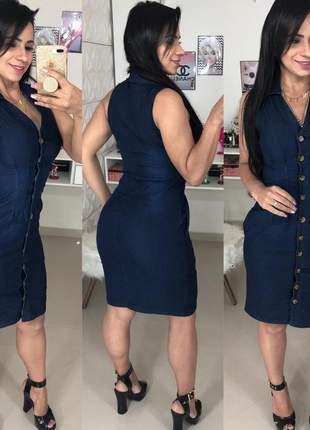 Vestido jeans com botões feminino estilo regata jeans com lycra