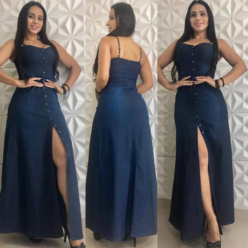 Vestido Jeans Longo Com Lycra E Botões Feminino Regata Alcinha Jeans Com Lycra R 13500 Shafa O Melhor Da Moda Feminina