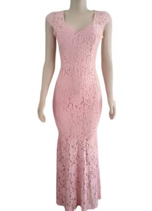 Vestido de festa longo rosa em renda convidadas madrinhas casamento c/bojo e forro