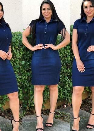 Vestido jeans feminino com lycra mid com detalhes em botões e manguinha