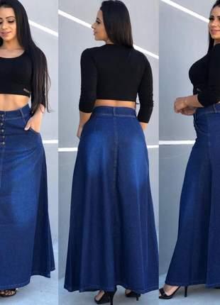 Saia jeans feminina com botões jeans com lycra feminino