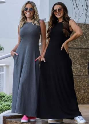 Vestido longo com bolso na lateral primavera verão 2020