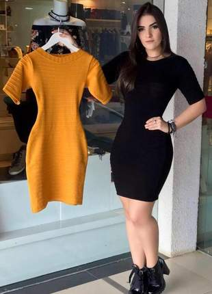 Vestido midi curto preto/dourado