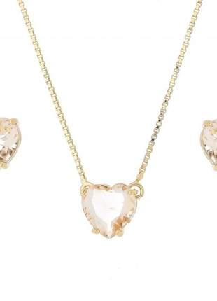 Conjunto coração , cristal banhado a ouro