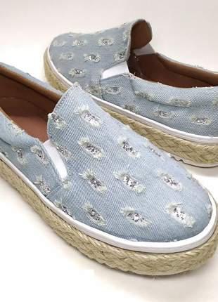 Slip on tenis feminino confortável sola corda jeans rasgado glitter prata