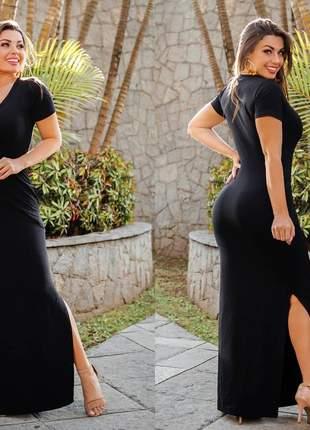 Vestido manguinha fenda dupla