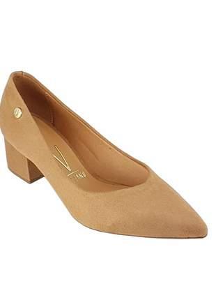 Sapato scarpin vizzano salto baixo grosso 1220 cor camel