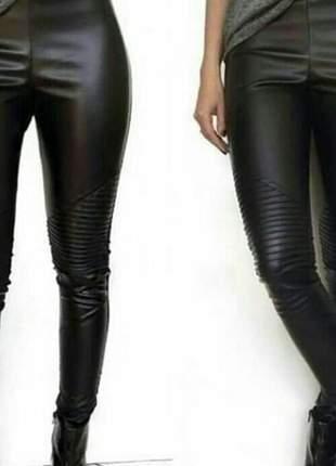 Calça feminina em couro eco cintura alta