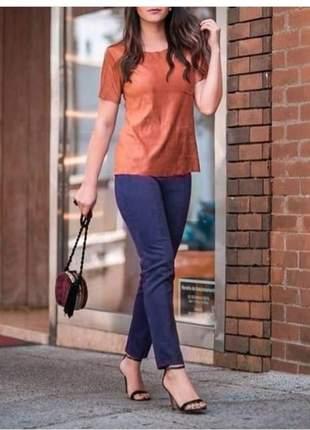T-shirt suede caramelo feminina blusa manga curta