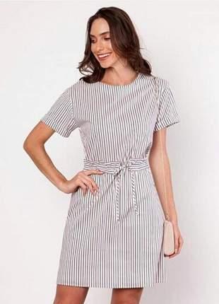 Vestido curto listras stripes em algodão, poliamida, elastano e poliéster.
