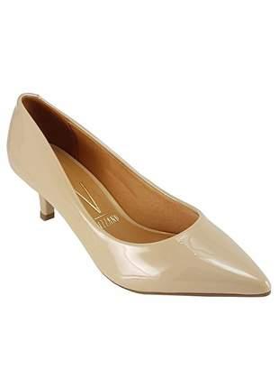 Sapato scarpin vizzano salto baixo 1122.600 verniz bege