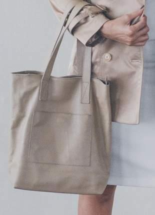 Bolsa couro legítimo nude