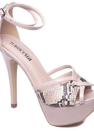Sandálias femininas meia pata nude animal print