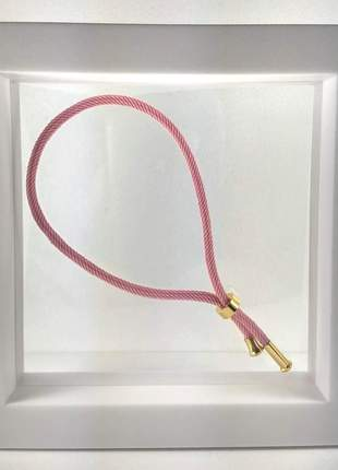 Pulseira semijoia gazin cordão rosa