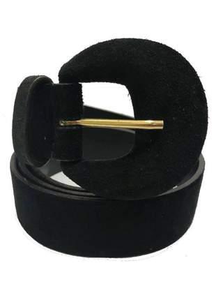 Cinto de couro legítimo camurça preto  - 4 cm  - cintos exclusivos - feminino