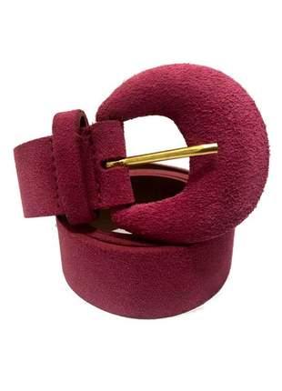 Cinto de couro legítimo camurça rosa - 4cm- cintos exclusivos - feminino