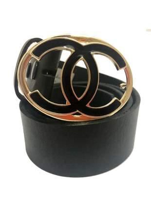 Cinto de couro legítimo preto com fivela   ouro - 4 cm - cintos exclusivos - feminino