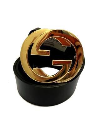 Cinto de couro legítimo  preto com fivela dourada - 4cm - cintos exclusivos - feminino
