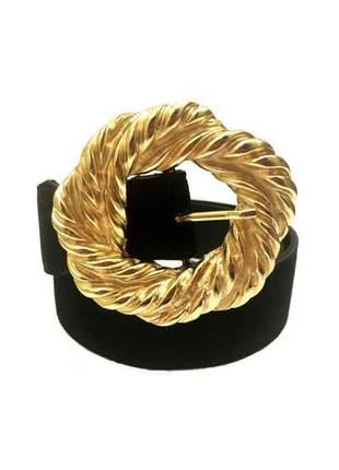 Cinto de couro legítimo camurça preto com fivela dourada - 4cm-  cintos exclusivos