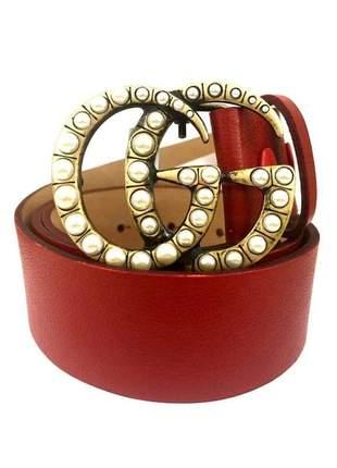 Cinto de couro legítimo  vermelho - 4cm - cintos exclusivos - feminino