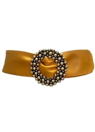 Cinto faixa de couro legítimo amarelo  -  7 cm - cintos exclusivos - feminino