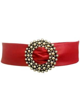 Cinto faixa de couro legítimo vermelho  -  7 cm - cintos exclusivos - feminino